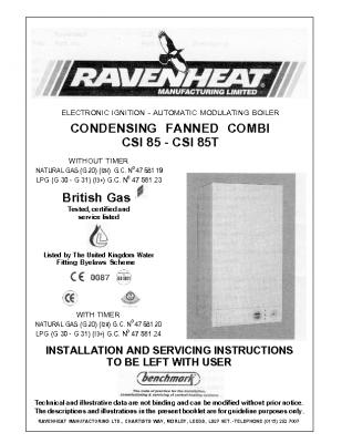 Ravenheat Condensing Fanned Combi CSI 85 – CSI 85T 47-581-20